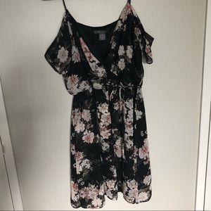 Black floral faux wrap dress